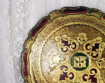 Antique Italian Florentine Toleware Scalloped Tray