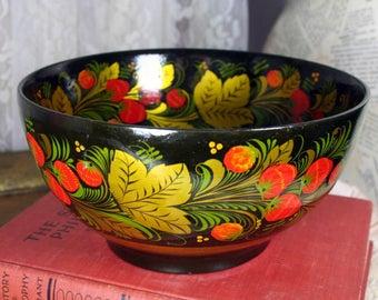 Vintage Russian Traditional Folk Art Khokhloma Hand Painted Bowl