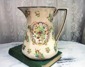 Vintage 1930 39 s Japan Art Deco Pitcher, Rustic Farm House Pitcher, Crackle Finish Hand Painted Porcelain Pitcher