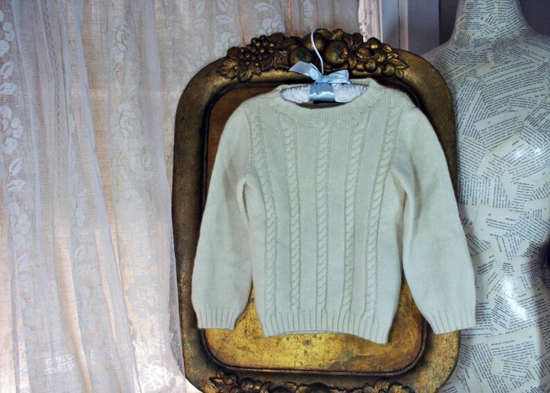 Vintage Child/'s Italian Cashmere Sweater Cable Knit Cream Color Ubaldin Label