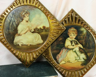 Antique ELPEC England Tin Frame Wall Hanging Child Prints