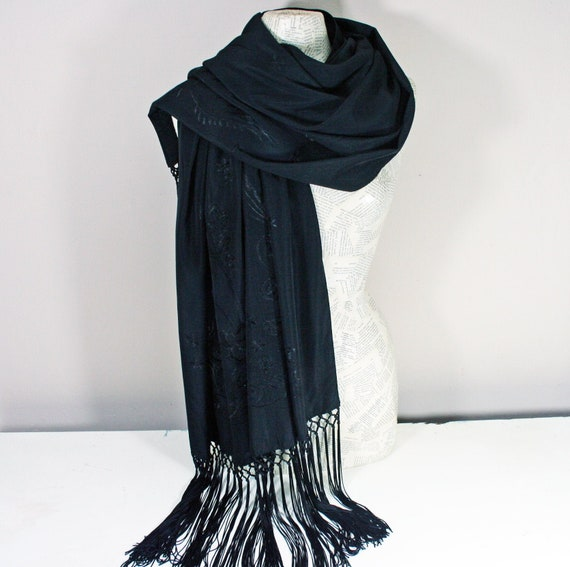 Vintage French Black Silk Scarf Shawl, Black Scarf