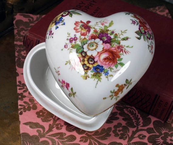 Hammersley Vintage Fine Bone China Heart Jewelry Trinket Box Etsy