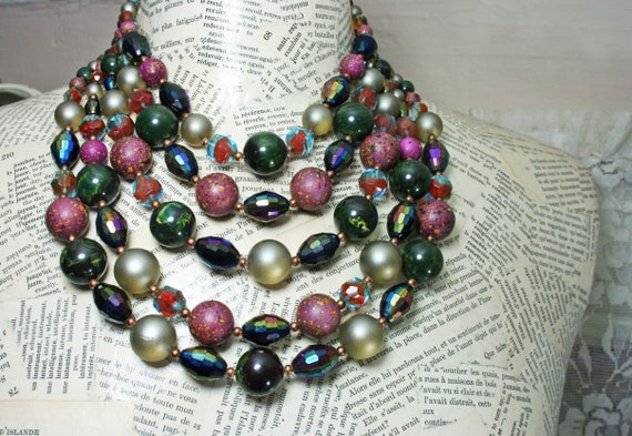 Vintage 5 Strand Beaded Necklace, Graduated 5 Stra