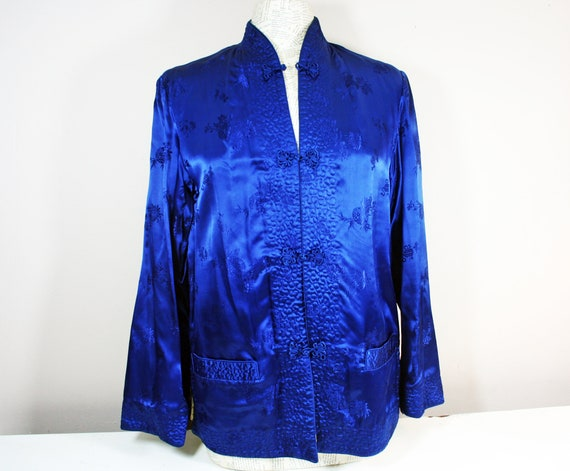 Vintage Reversible Chinese Silk Jacket, Royal Blue