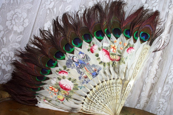 Rare Antique Chinese Fan, Hand Painted Chinese Fan