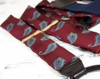 Vintage 100% Silk and Leather West German Paisley Suspenders