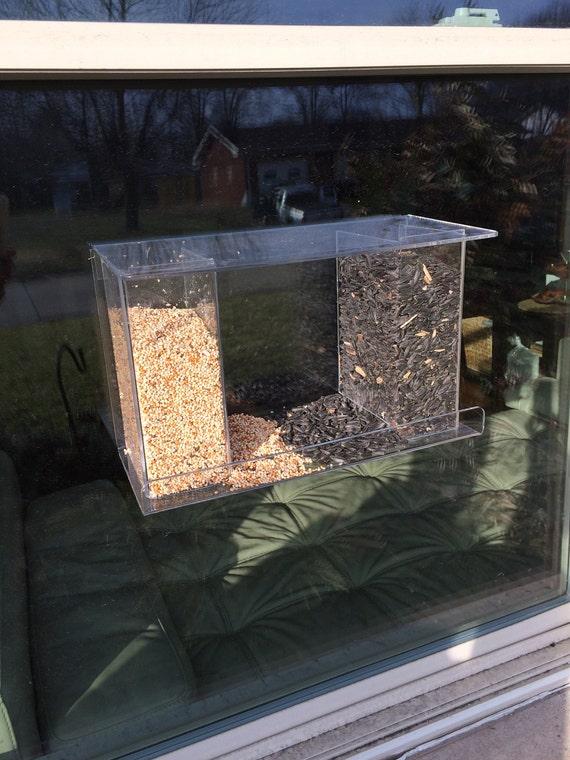Clear Acrylic Window Mount Bird Feeder, See Thru Window Mount Bird Feeder