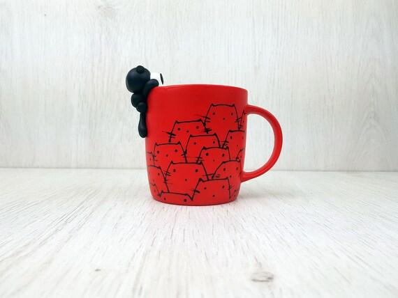 Cat Tea Cup Red Coffee Mug Black Cat Mug Cat Coffee Mug Etsy