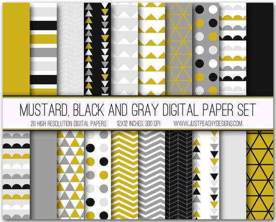 Mustard Yellow Black And Gray Modern Digital Scrapbook Paper Etsy