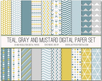 teal, gray and mustard modern digital scrapbook paper with geometric patterns