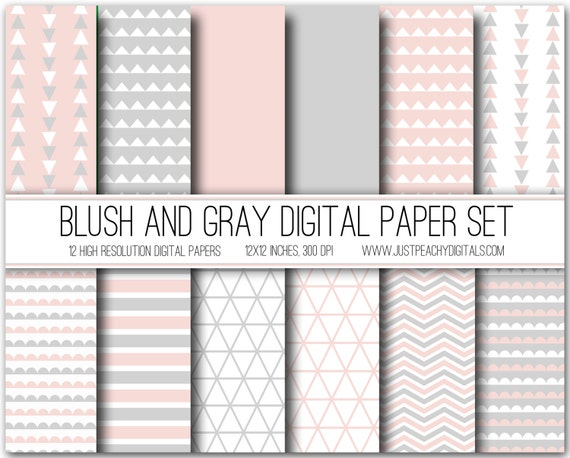 Blush Pink And Gray Modern Digital Scrapbook Paper With Etsy