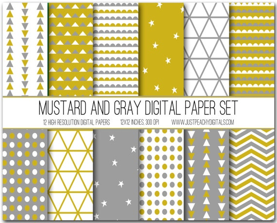 Mustard Yellow And Gray Modern Digital Scrapbook Paper With Etsy