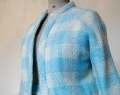 Italian hand-made Filene 39 s Chanel-style knit wool and mohair dress suit- pristine condition - blue and white - 1960s