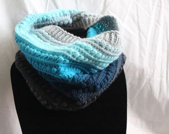 Blue and Gray Ombre Cowl