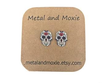 Sugar Skull Stud Earrings, Under 10 Dollars Jewelry Gift, Mexican Celebration