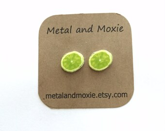 Lime Slices Stud Earrings, Under 10 Dollars Jewelry Gift