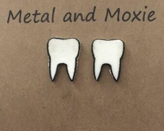 Tooth Stud Earrings, Dental School Graduation, Dentist Gift, Dental Office Staff, Dental Hygienist, Orthodontist, Under 10 Dollar Jewelry