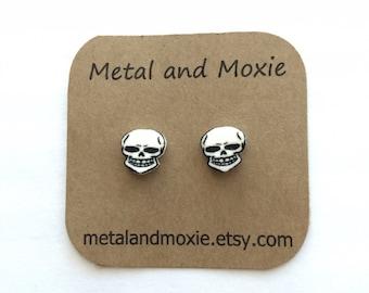 Skeleton Skull  Stud Earrings, Under 10 Dollars, Jewelry Gift