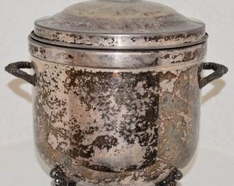 Vintage Silver Ice Bucket. Antique Silver. Mid Century.