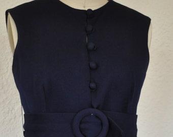 Navy Blue Mod Mini Dress. 1950s/1960s vintage shift dress