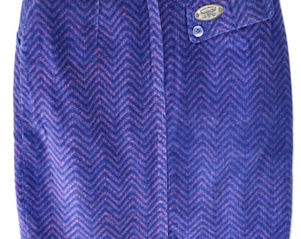 VIntage High Waisted Skirt Purple/Pink and Blue Chevron Print. 1980s Mini Skirt. Sergio Velente/Small/XS Skirt/