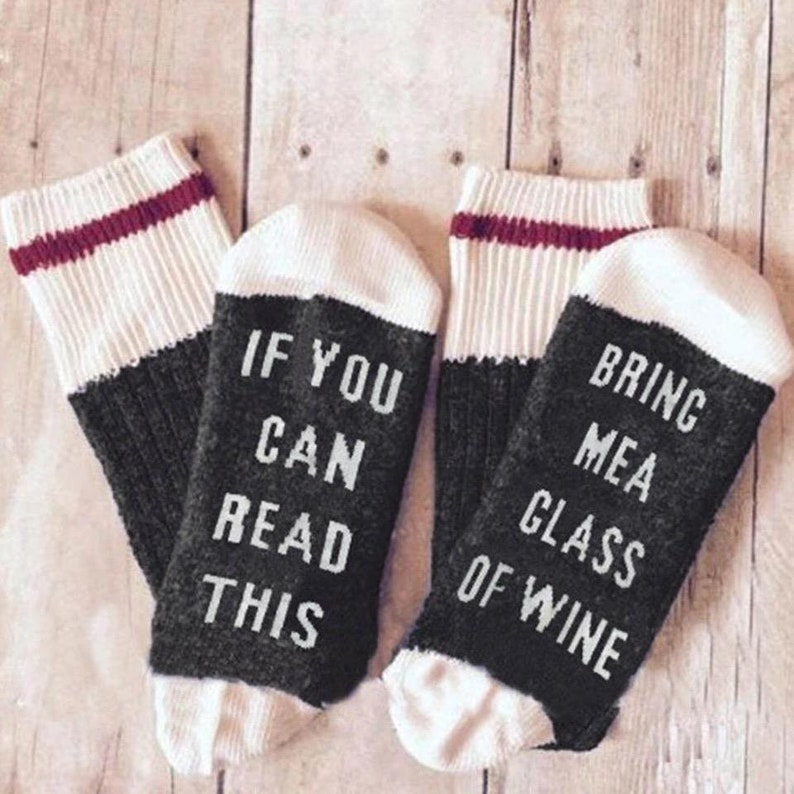 If You Can Read This Bring Me Wine Socks Limited Qty image 0