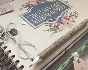 Handmade Personalised Memory Book/ Scrapbook/ Photo Album/ Guestbook/ A4 Luxury/ any message printed
