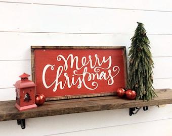 Merry Christmas Sign Merry Christmas Wood Sign Christmas Sign