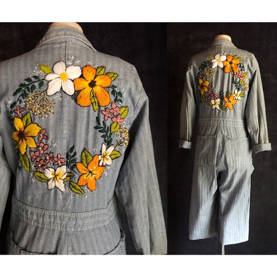 Embroidered Mechanic Coveralls - Vintage Cropped H