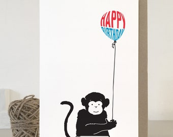 Monkey Birthday Card Cute For Birthdays Happy Matching Gift Wrap Available