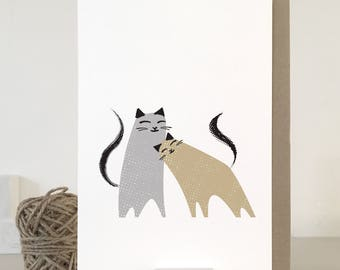 Love Cats cards for Valentines Day, wedding, anniversary, engagement, cat valentines card, two cats card, matching wrapping papers
