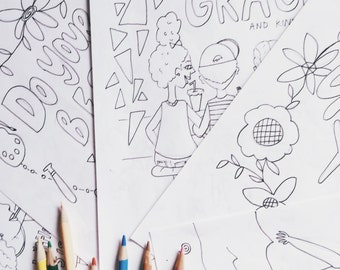 Kids' Coloring Book Pages- Printable PDF