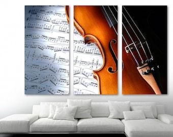 Wall Art Canvas Picture Print Viola Violin bw 3.2