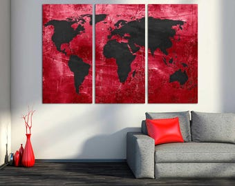 Abstract black world map canvas print 3 panel split red and black world map canvas print 3 panel split triptych wall art for home office wall decor interior design gumiabroncs Images