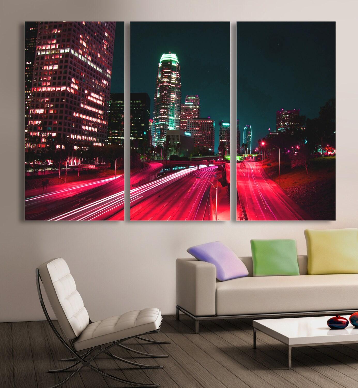 Downtown LA Los Angeles City skyline Canvas Print. 3 Panel | Etsy