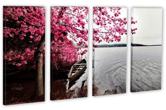 PINK TREES BOAT LAKE BEAUTIFUL CANVAS WALL ART PRINT PICTURE READY TO HANG