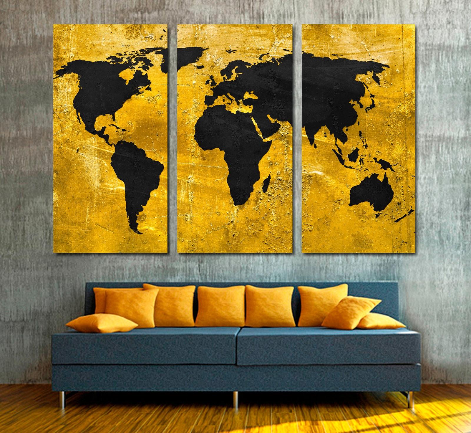 Gold and Black World Map Canvas Print Wall art 3 Panel Split | Etsy
