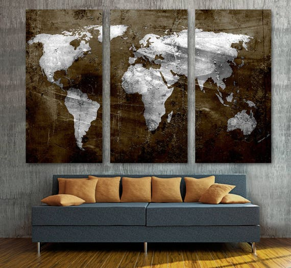 Brown silver world map canvas print wall art 3 panel split gumiabroncs Gallery
