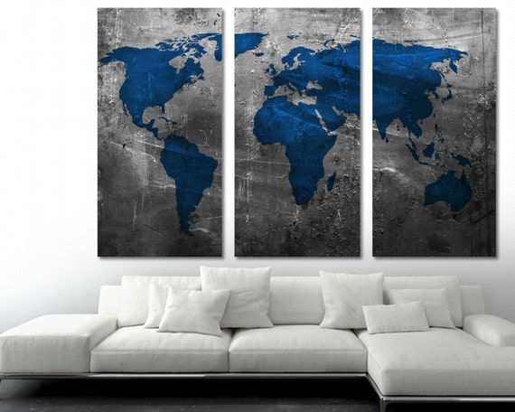 Blue world map canvas print 3 panel split triptych wall art etsy image 0 gumiabroncs Images