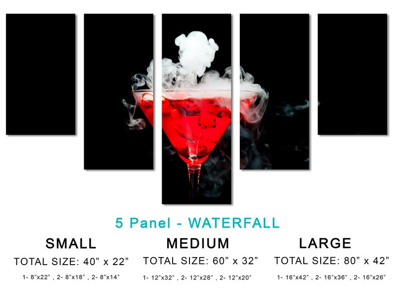 3 Panel Red Cocktail Ice Vapor Triptych Canvas Print room decor Martini Dink Giclee -1.5 frames Modern Wall Art wall decor Margarita