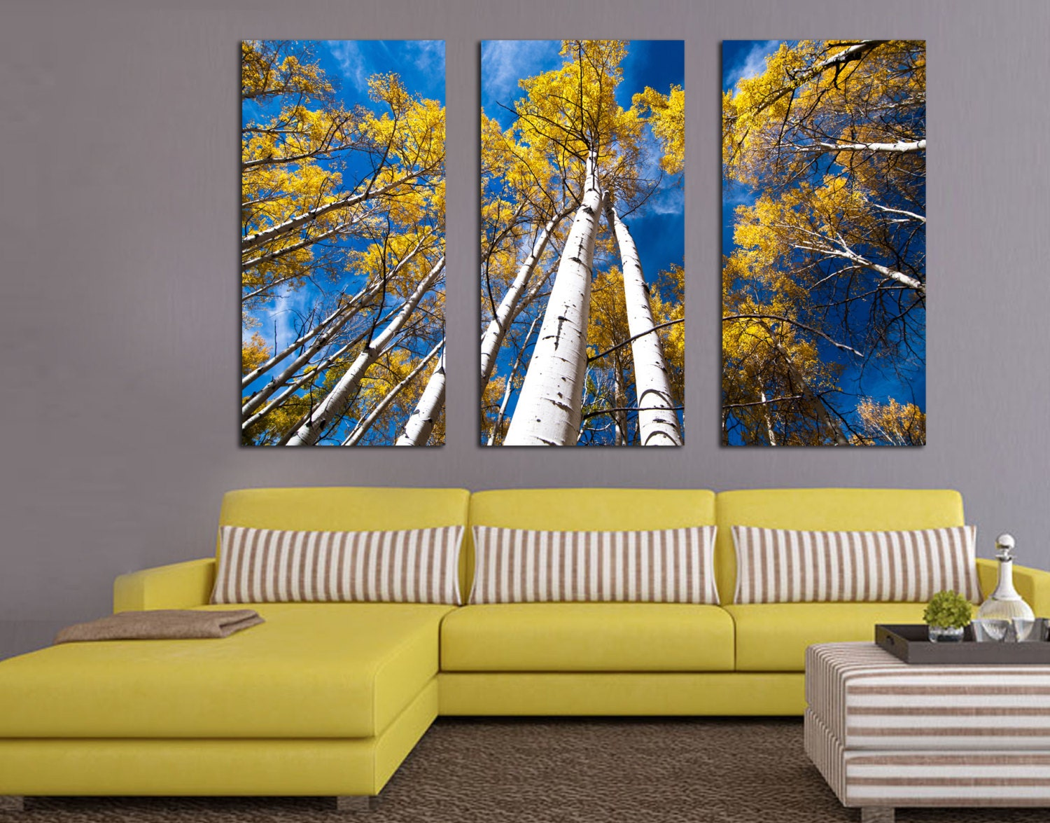 Aspen Trees and Blue Skies. 3 Panel Split Triptych Canvas | Etsy