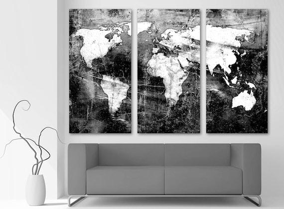 Black White World Map Canvas Print Wall Art 3 Panel Split