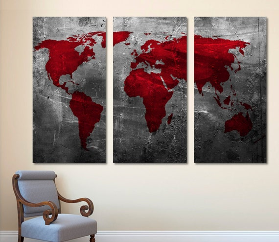 Abstract Deep Red World Map Canvas Print Wall Art 3 Panel Split Triptych Giclee For Home Office Wall Decor Interior Design Silver Gray