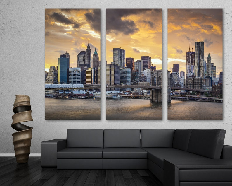 New York City Skyline Brooklyn Bridge Canvas Print Triptych 3 Panel Split Nyc Midtown Manhattan Art For Wall Decor Interior Design
