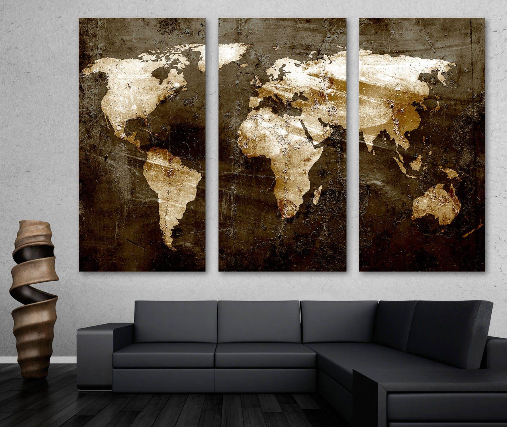 3 Panel Split Art World Map Canvas Print Triptych For: Rustic Brown World Map Canvas Print Wall Art 3 Panel Split
