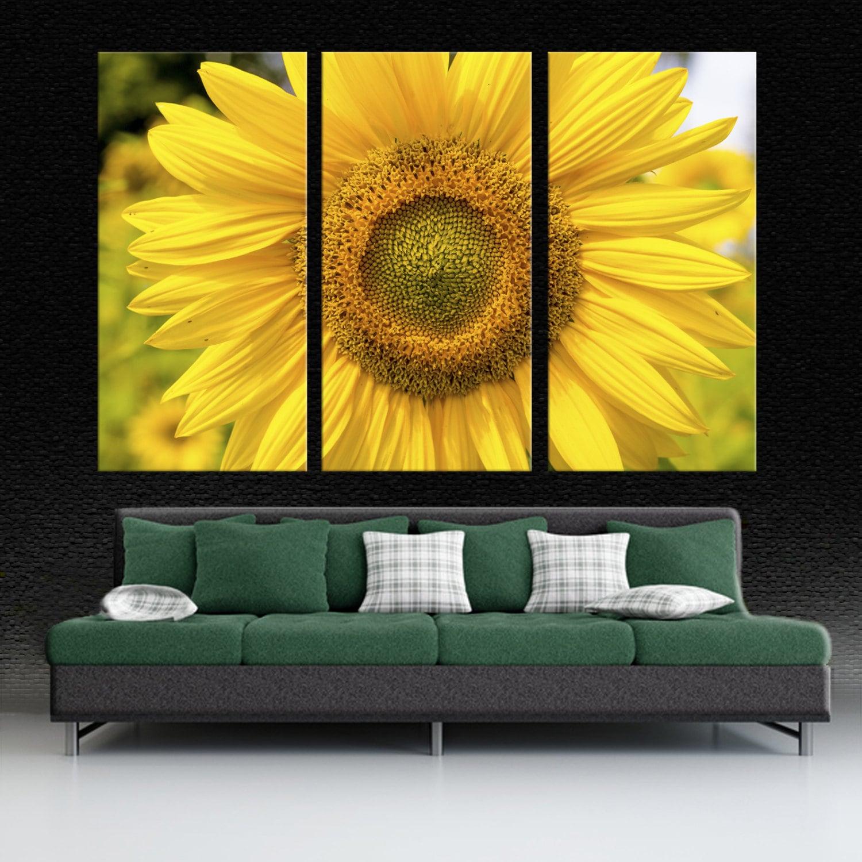 Yellow Sunflower Closeup 3 Panel Split Triptych Canvas | Etsy