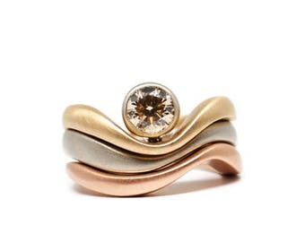 Triple Wave Ring with Bezel Set Champagne Diamond, 14k Matte White, Yellow and Rose Gold, Stacking Ring, Ready to Ship