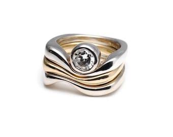 Two Tone Triple Wave Ring with Bezel Set Diamond
