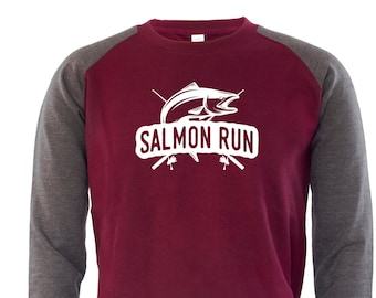Salmon Run Mens Jumper All Sizes Top Fisherman Rod Fishing Gift For Him For Dad